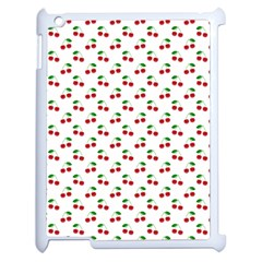 Natural Bright Red Cherries on White Pattern Apple iPad 2 Case (White)