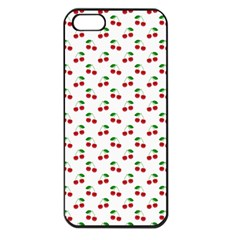 Natural Bright Red Cherries on White Pattern Apple iPhone 5 Seamless Case (Black)