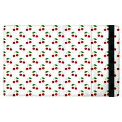 Natural Bright Red Cherries on White Pattern Apple iPad 2 Flip Case