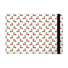 Natural Bright Red Cherries on White Pattern Apple iPad Mini Flip Case