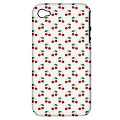 Natural Bright Red Cherries On White Pattern Apple Iphone 4/4s Hardshell Case (pc+silicone)