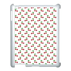 Natural Bright Red Cherries on White Pattern Apple iPad 3/4 Case (White)