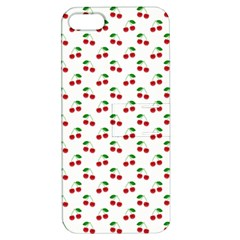 Natural Bright Red Cherries on White Pattern Apple iPhone 5 Hardshell Case with Stand