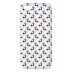 Natural Bright Red Cherries on White Pattern Apple iPhone 5 Premium Hardshell Case