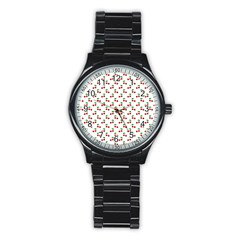 Natural Bright Red Cherries on White Pattern Stainless Steel Round Watch
