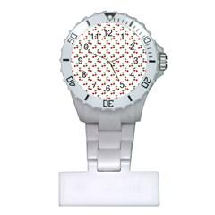 Natural Bright Red Cherries on White Pattern Plastic Nurses Watch