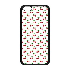 Natural Bright Red Cherries on White Pattern Apple iPhone 5C Seamless Case (Black)