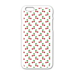 Natural Bright Red Cherries on White Pattern Apple iPhone 6/6S White Enamel Case