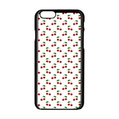 Natural Bright Red Cherries on White Pattern Apple iPhone 6/6S Black Enamel Case