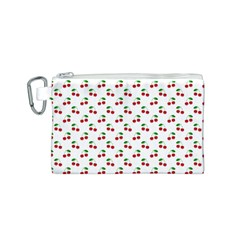 Natural Bright Red Cherries on White Pattern Canvas Cosmetic Bag (S)