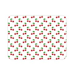 Natural Bright Red Cherries on White Pattern Double Sided Flano Blanket (Mini)