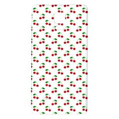 Natural Bright Red Cherries on White Pattern Galaxy Note 4 Back Case