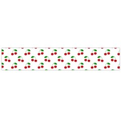 Natural Bright Red Cherries on White Pattern Flano Scarf (Large)