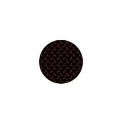 Natural Bright Red Cherries on Black Pattern 1  Mini Buttons