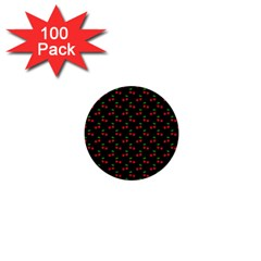 Natural Bright Red Cherries on Black Pattern 1  Mini Buttons (100 pack)