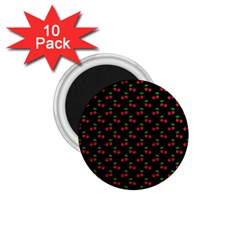 Natural Bright Red Cherries on Black Pattern 1.75  Magnets (10 pack)