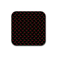 Natural Bright Red Cherries on Black Pattern Rubber Square Coaster (4 pack)
