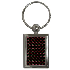 Natural Bright Red Cherries on Black Pattern Key Chains (Rectangle)