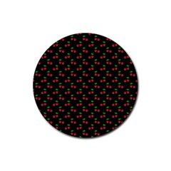 Natural Bright Red Cherries on Black Pattern Rubber Coaster (Round)