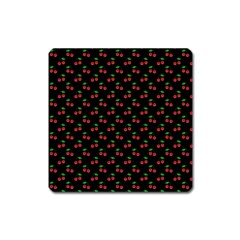 Natural Bright Red Cherries on Black Pattern Square Magnet