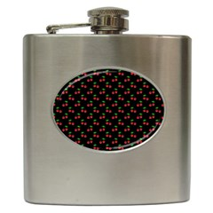 Natural Bright Red Cherries on Black Pattern Hip Flask (6 oz)