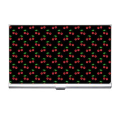 Natural Bright Red Cherries on Black Pattern Business Card Holders