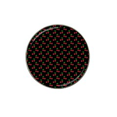 Natural Bright Red Cherries on Black Pattern Hat Clip Ball Marker