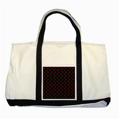Natural Bright Red Cherries on Black Pattern Two Tone Tote Bag