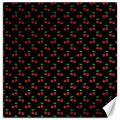 Natural Bright Red Cherries on Black Pattern Canvas 12  x 12
