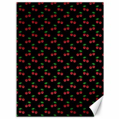 Natural Bright Red Cherries on Black Pattern Canvas 36  x 48