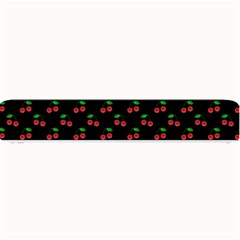 Natural Bright Red Cherries on Black Pattern Small Bar Mats