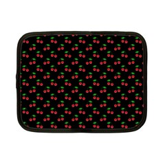 Natural Bright Red Cherries on Black Pattern Netbook Case (Small)