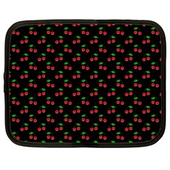 Natural Bright Red Cherries on Black Pattern Netbook Case (Large)