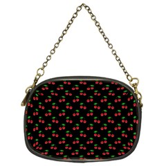Natural Bright Red Cherries on Black Pattern Chain Purses (One Side)