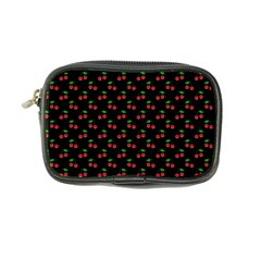 Natural Bright Red Cherries on Black Pattern Coin Purse