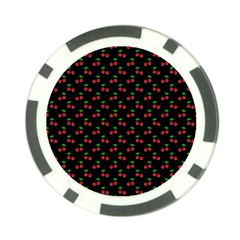 Natural Bright Red Cherries on Black Pattern Poker Chip Card Guard (10 pack)
