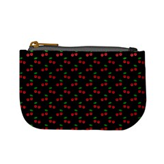 Natural Bright Red Cherries on Black Pattern Mini Coin Purses
