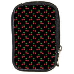 Natural Bright Red Cherries on Black Pattern Compact Camera Cases