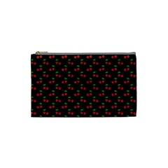 Natural Bright Red Cherries on Black Pattern Cosmetic Bag (Small)
