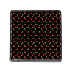 Natural Bright Red Cherries on Black Pattern Memory Card Reader (Square)