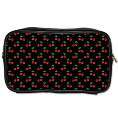 Natural Bright Red Cherries on Black Pattern Toiletries Bags