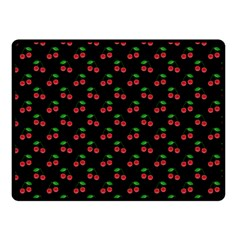 Natural Bright Red Cherries on Black Pattern Fleece Blanket (Small)