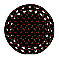Natural Bright Red Cherries on Black Pattern Ornament (Round Filigree)
