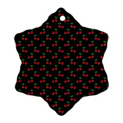Natural Bright Red Cherries on Black Pattern Snowflake Ornament (Two Sides)