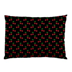 Natural Bright Red Cherries on Black Pattern Pillow Case (Two Sides)