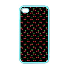 Natural Bright Red Cherries on Black Pattern Apple iPhone 4 Case (Color)