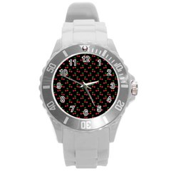 Natural Bright Red Cherries on Black Pattern Round Plastic Sport Watch (L)
