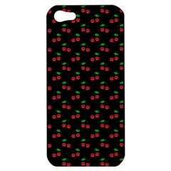 Natural Bright Red Cherries on Black Pattern Apple iPhone 5 Hardshell Case