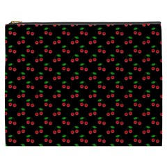 Natural Bright Red Cherries on Black Pattern Cosmetic Bag (XXXL)