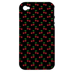 Natural Bright Red Cherries on Black Pattern Apple iPhone 4/4S Hardshell Case (PC+Silicone)